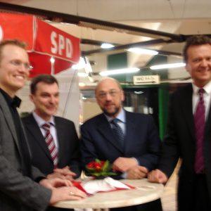 von links:  Jochen Ott, Ingo Jureck, Martin Schulz, Martin Dörmann